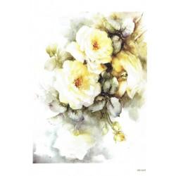 ***papier ryżowy  A-5 1433 malowane białe róże
