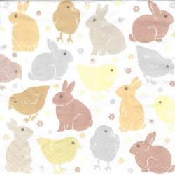 ***serwetka 33x33 W82 mini króliki, kurczaki