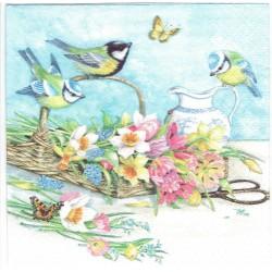 ***serwetka 33x33 K150 sikorki, kwiaty